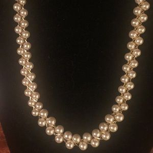 ***Napier Gold & Pearl Long Necklace